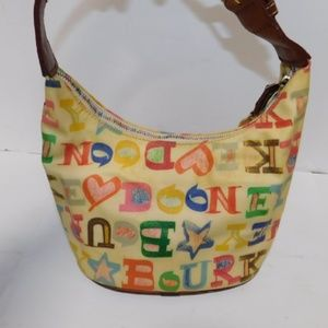 Dooney & Bourke doodle rainbow cream bucket bag